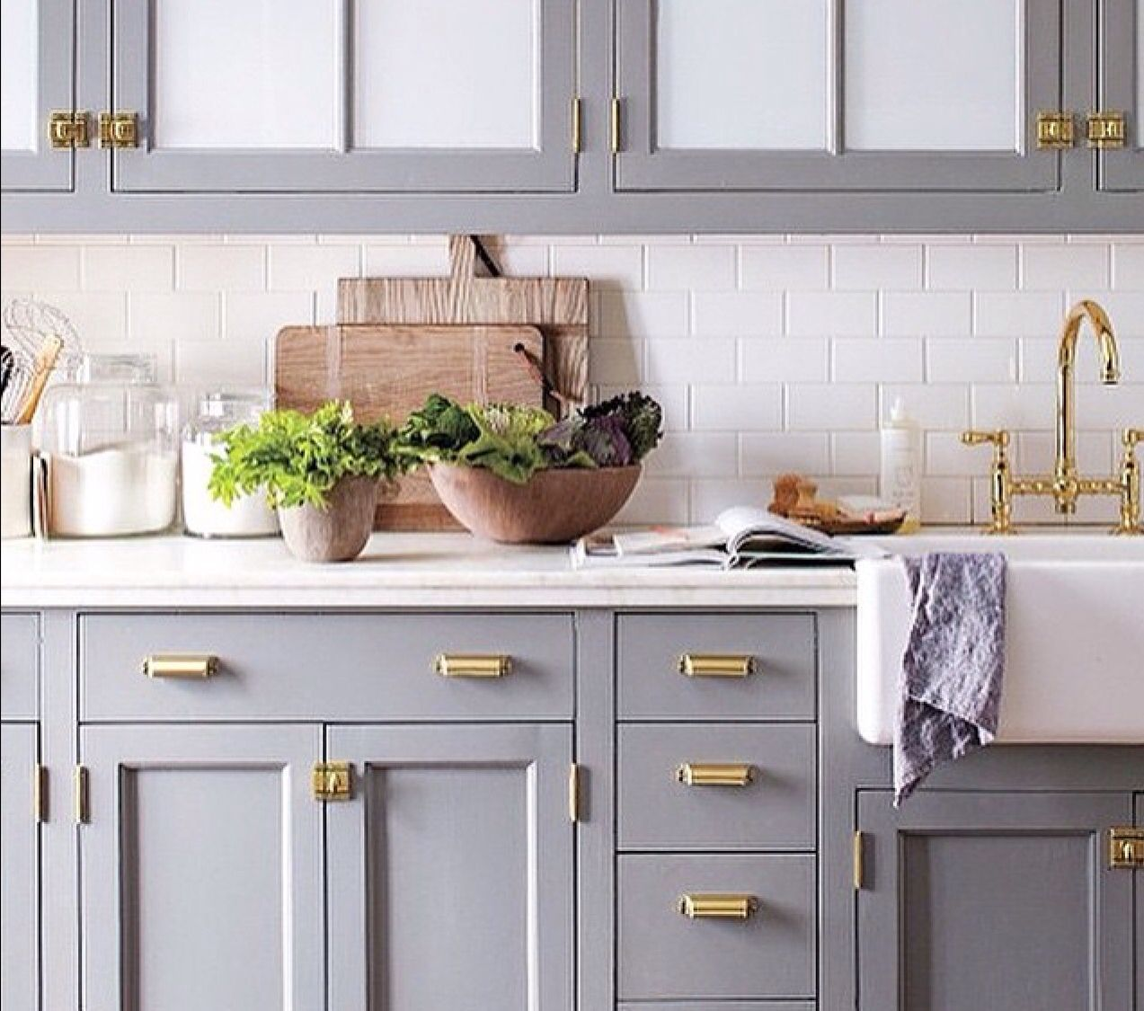 Dove Grey And Brass Handles Kitchen Cabinets Grey And White Grey Kitchen Cabinets Small Kitchen Solutions
