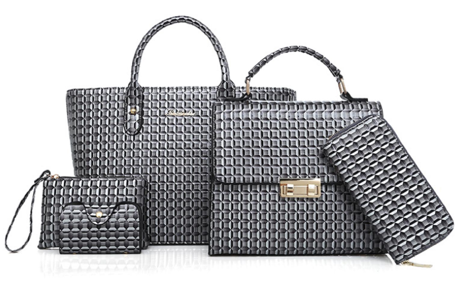 Us 17 30 Pu Leather Women S Backpack Hand Bag Shoulder Wallet Purse 5 Sets