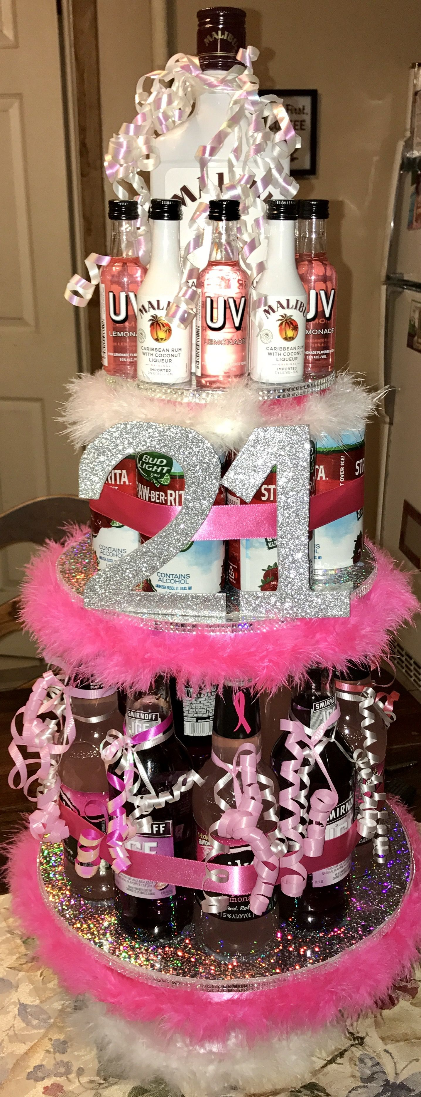Best friend s 21st birthday alcohol tower Everything was handmade