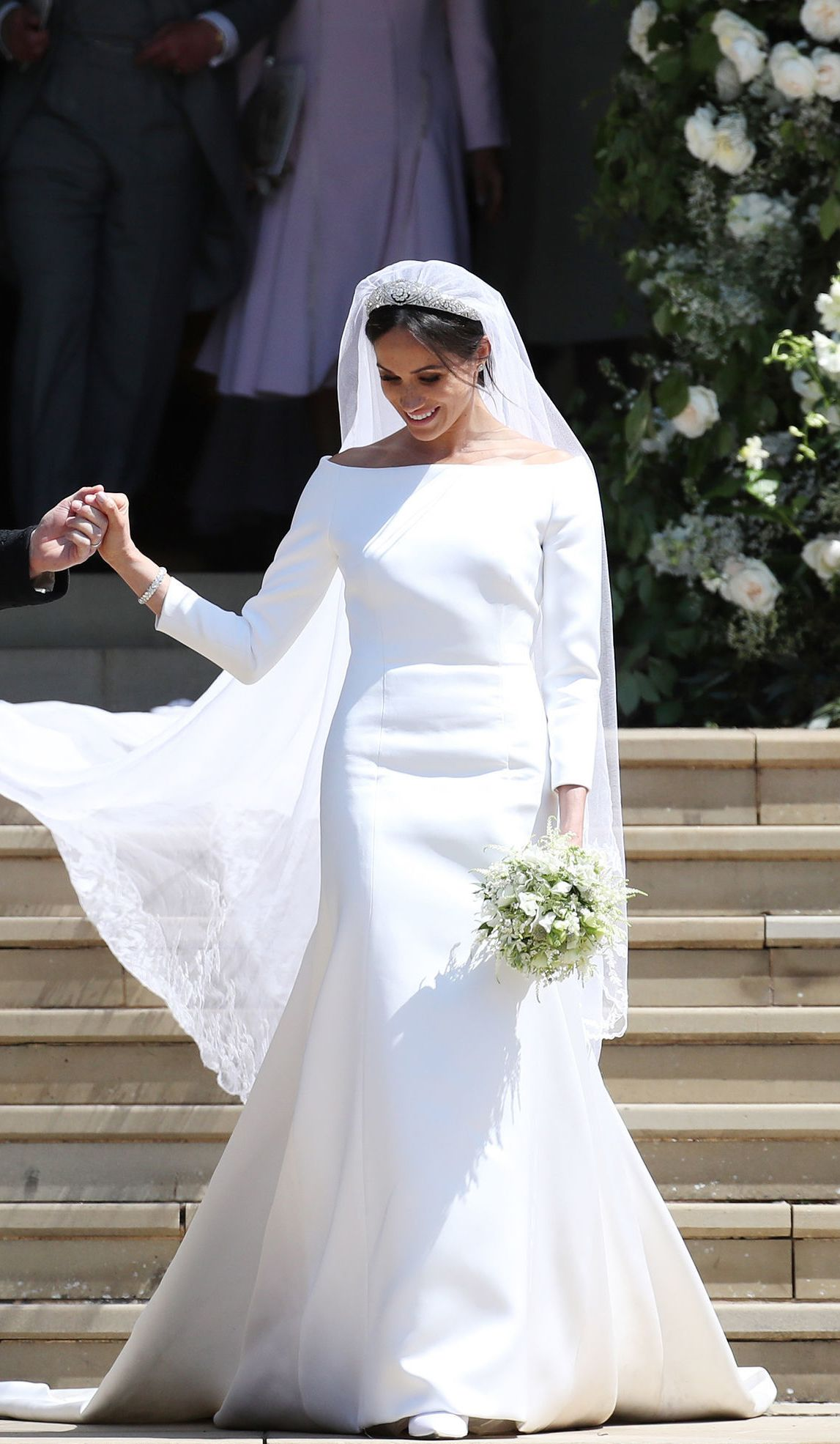 See How Meghan S Dress Compares To Royal Brides Of The Past Meghanmarkle Royalwedding W Royal Wedding Gowns Meghan Markle Wedding Dress Royal Wedding Dress