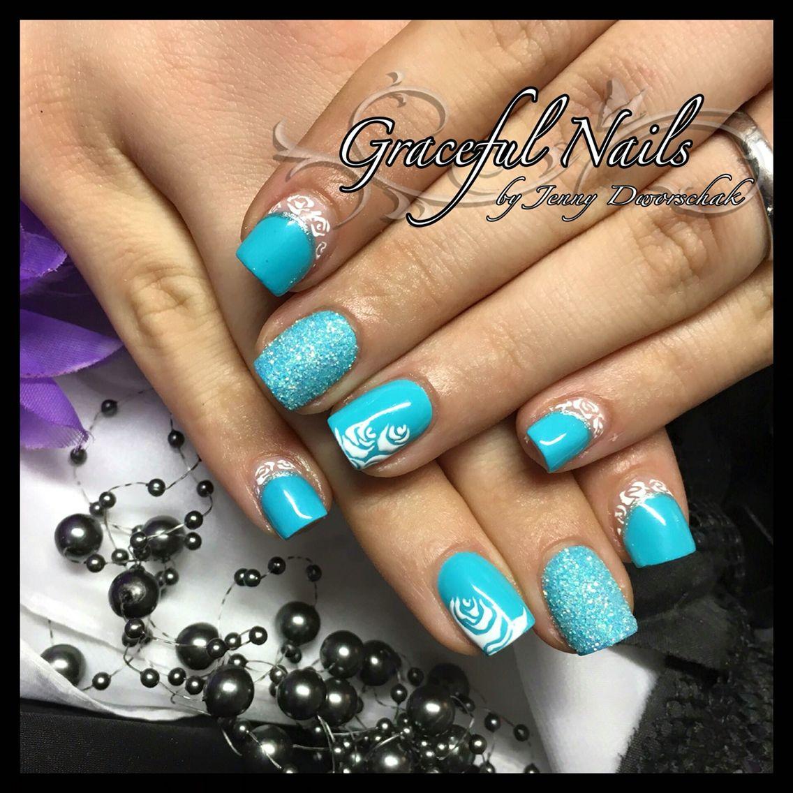 Fullcover Design Nails Gelmalerei Türkis weiß Nägel Nailart | Nails ...