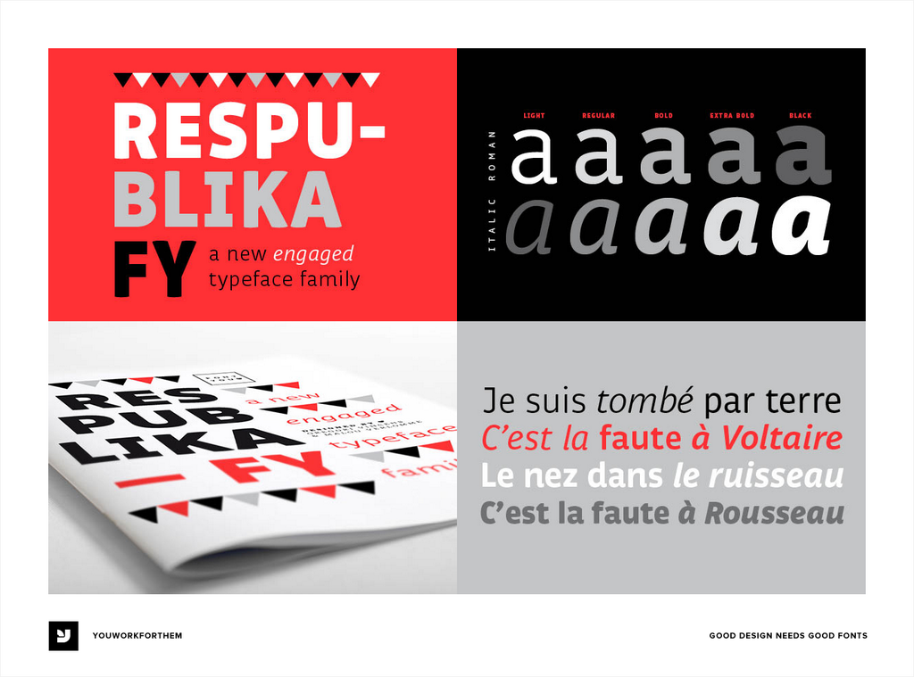 Respublika FY - a Humanist sans serif typeface. With its shapes and contrasts, develope... > http://zpr.io/f5vv  pic.twitter.com/cYv7MwlWOv