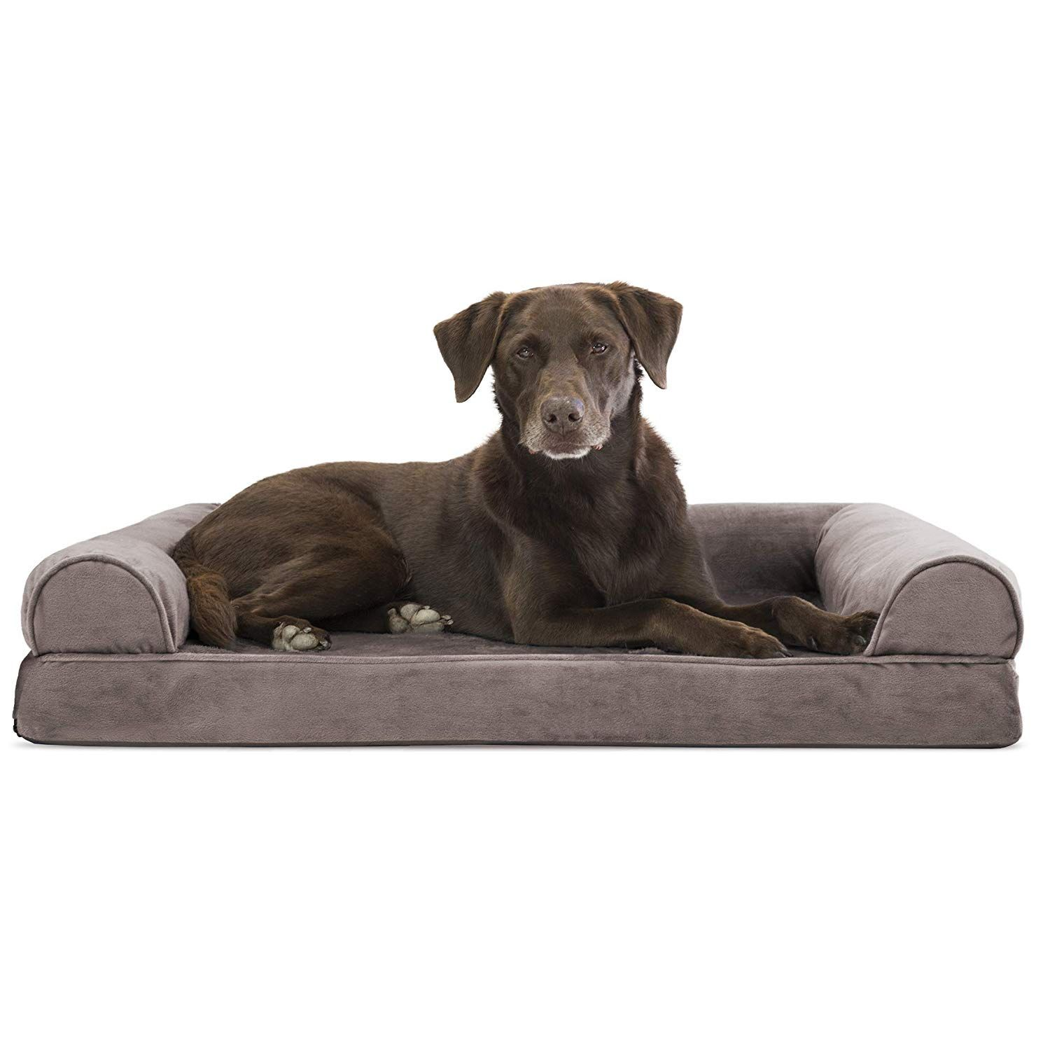 Furhaven Pet Dog Bed Orthopedic Faux Fur Velvet Traditional Sofa Style Living Room Couch Pet Be Dog Pet Beds Orthopedic Dog Bed Dog Couch Bed