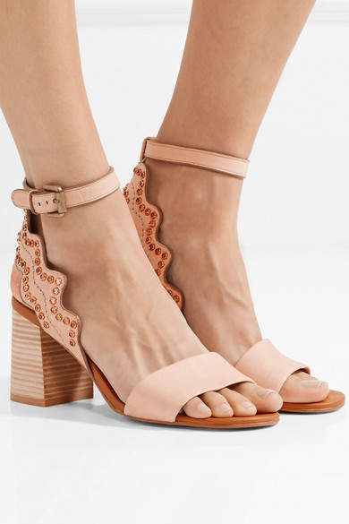 Crystal-embellished Scalloped Leather Sandals - Beige See By Chlo rStKfo6