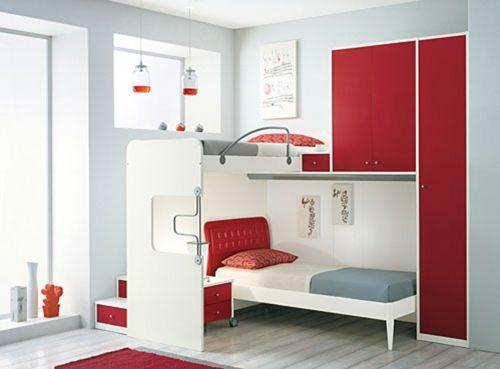 Platzsparende Wohnideen Schlafzimmer schlafzimmer etagenbett rot akzente schubladen platzsparend home