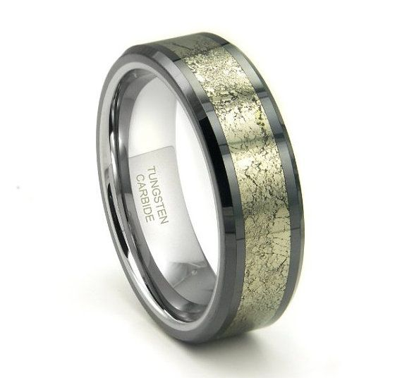 Tungsten Carbide Golden Meteorite Inlay Wedding Band Ring 8mm 30 Letters Free Engraving
