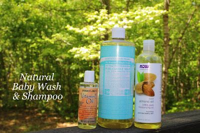 Natural Baby Wash & Shampoo 1/2 Cup Castile Soap (I like Dr Bronner's Baby Mild) 1/2 Cup Water 2 Tbsp Sweet Almond Oil, Jojoba Oil, or Olive Oil 1 Tbsp Vitamin E Oil or Aloe Vera Gel (or just more of the oil used above) Optional: 8-10 Drops Essential Oil (I like Lavender)