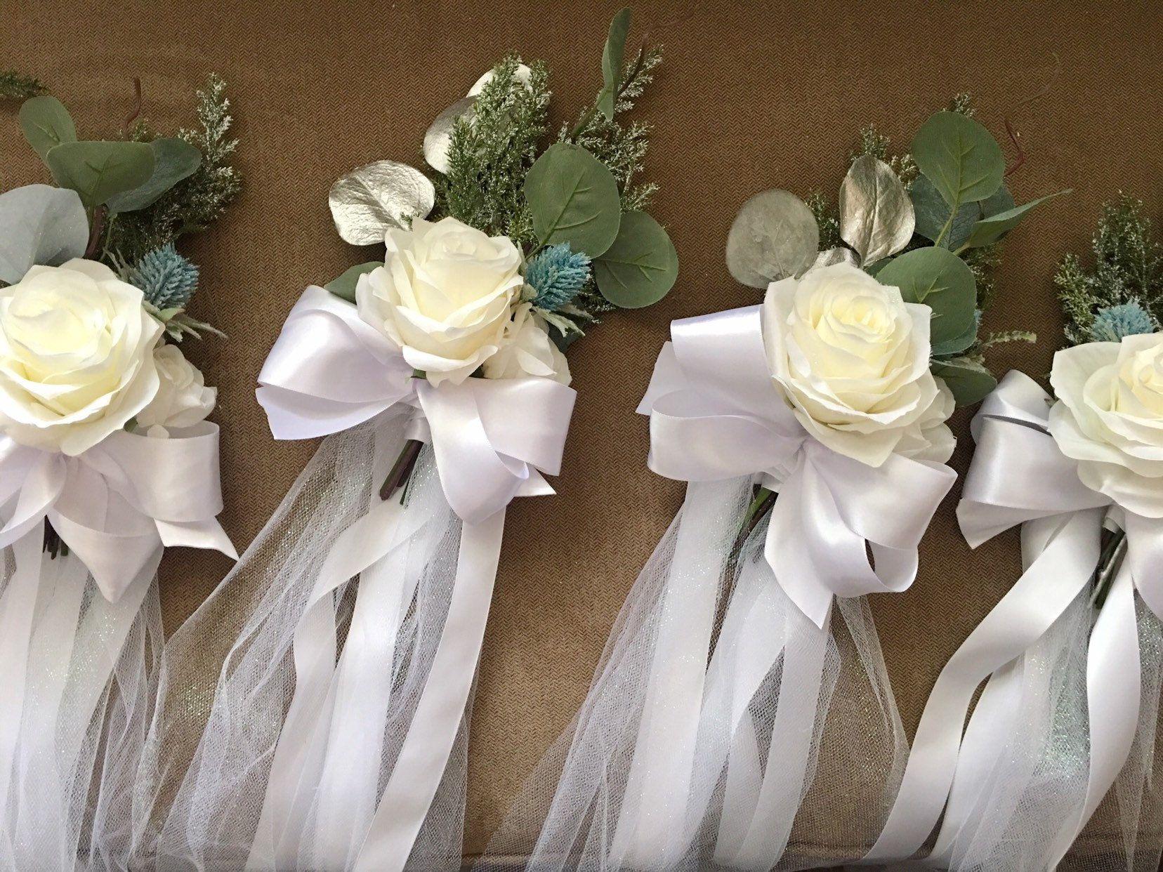 Bruiloft pouwt decoratie pew, winter bruiloft decoratie, kerk versiering. #decorationeglise