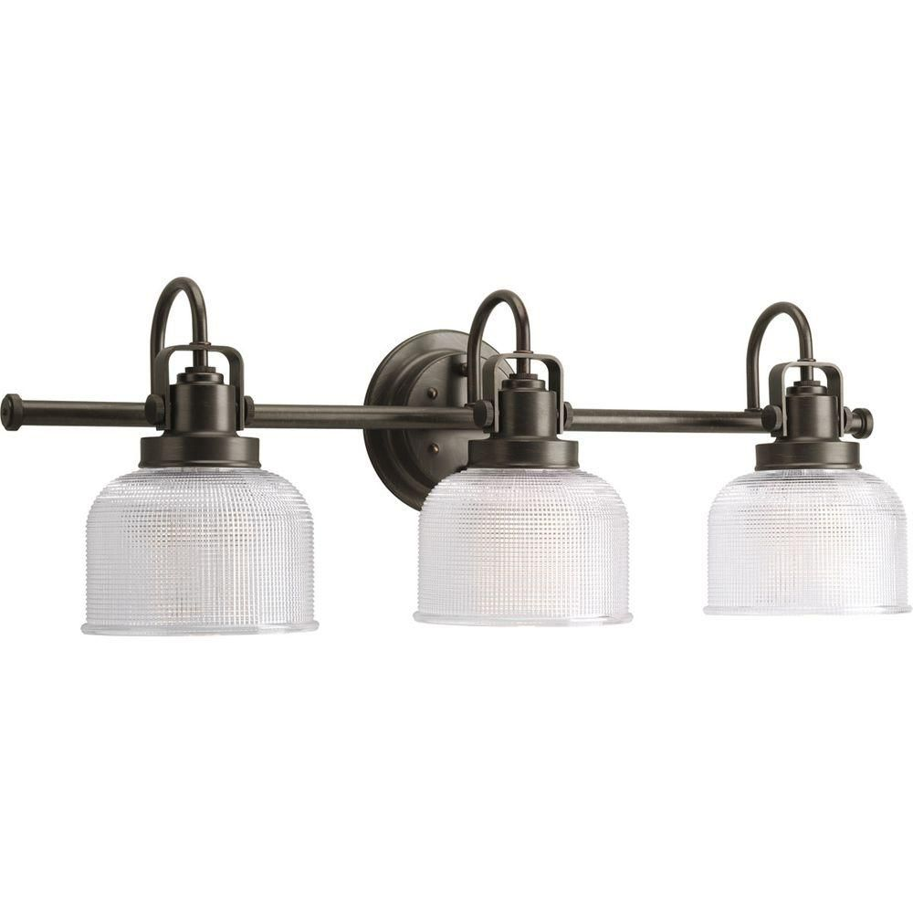 Progress Lighting Archie Collection 3Light Venetian Bronze Vanity Entrancing Home Depot Bathroom Light Fixtures Decorating Design