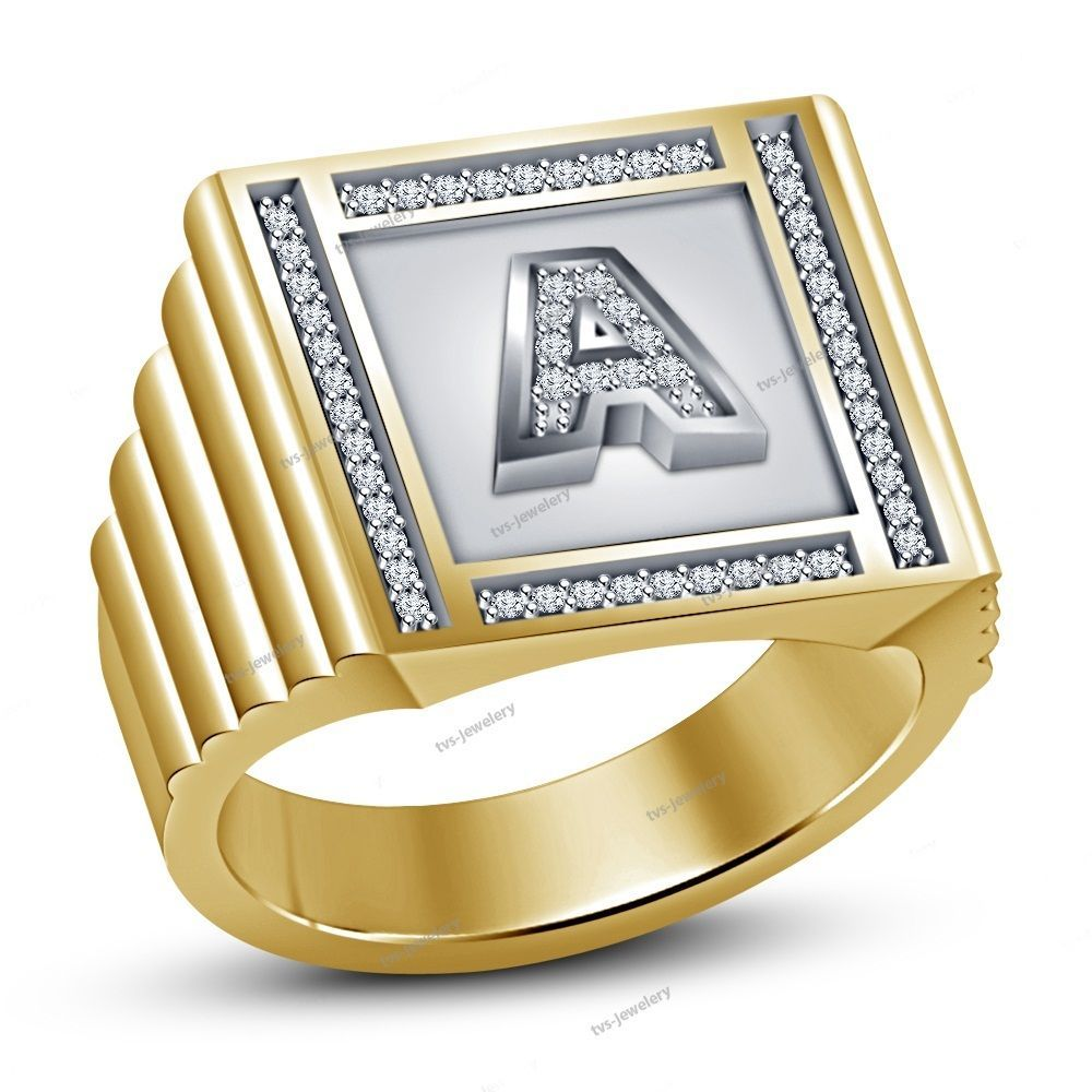Pure 925 Silver Round Diamond Fancy Alphabet A Men S Band Ring Jewelry 7 14 Band Ringe