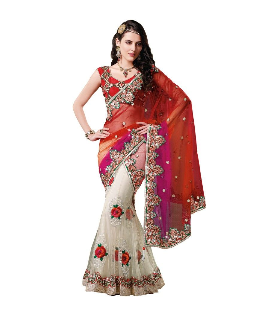 743b49faab2e4 Bright rose embroidered sari 1. White net sari with bright red pallu 2. Has  rose embroidery running all over and embellishments on the pallu 3.