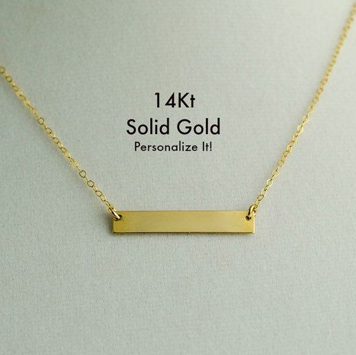 Littlesas Shared A New Photo On Etsy Gold Bar Necklace Gold Bar Necklace Personalized 14k Gold Bar Necklace