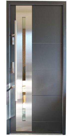 New Yorker Stainless Steel Modern Entry Door With Glass Doors In