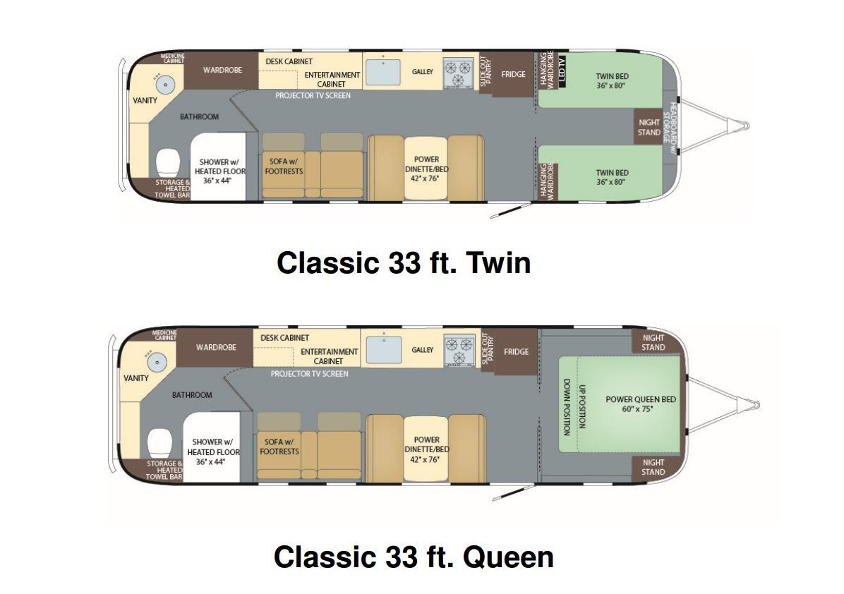 Floorplans for the new 2018 Airstream Classic 33