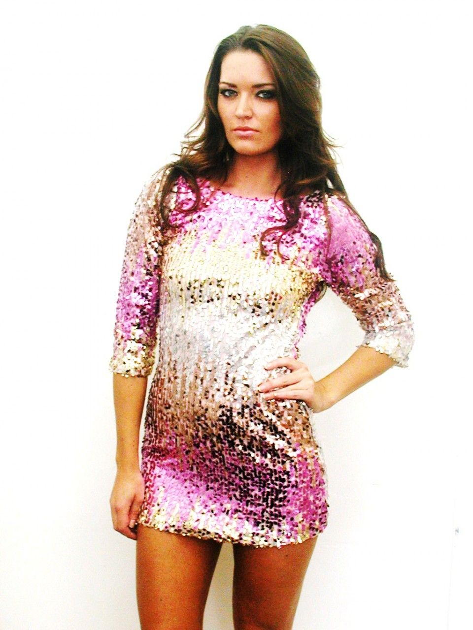 shop kami shade' - plus size diva pink, gold sequin dress | plus
