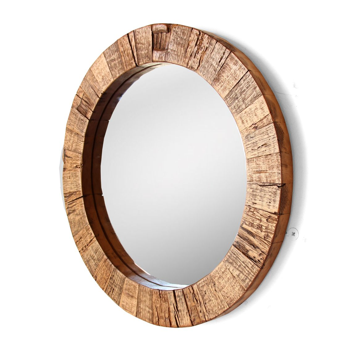 20 Round Reclaimed Wood Mirror By