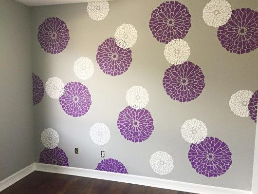 Adorable Stenciled Nursery Projects Purple Accent Walls