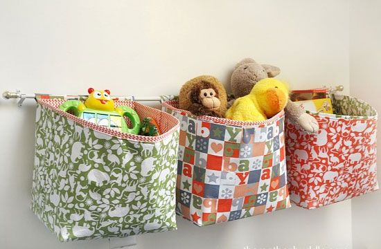 Click Pic For 21 DIY Wall Organizers   Fabric Baskets For Toy Storage   DIY  Organization Hacks