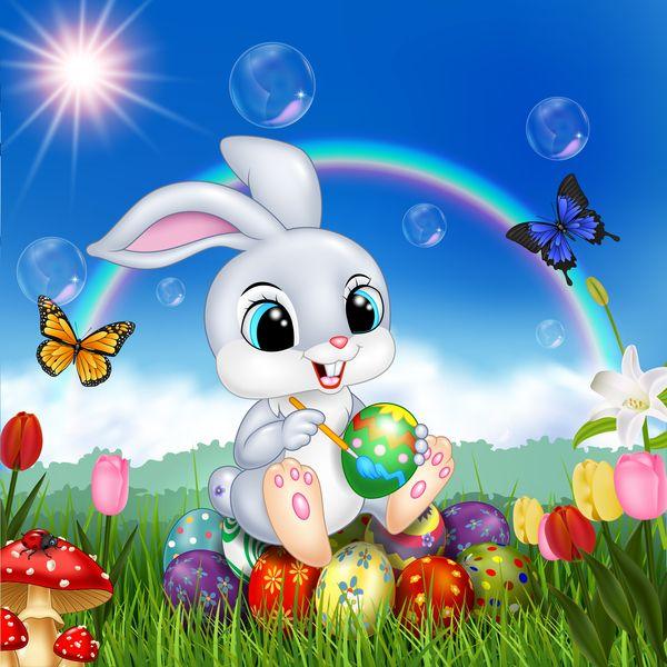 Gratis Eps Fil Sot Bunny Pask Bakgrund Med Regnbage Vektor 07 Ladda Ner Namn Sot Bunny Pask Bakgrund Easter Backgrounds Happy Easter Pictures Easter Pictures