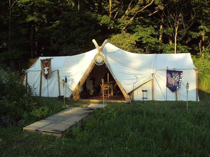 How to make a viking style large tent using two wall tents for Homemade wall tent frame