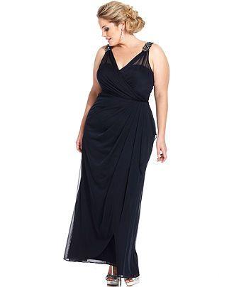 Xscape Plus Size Dress Sleeveless Beaded Surplice Gown Plus Size