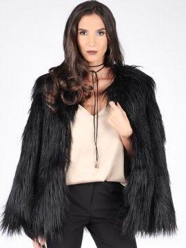 Carla by Rozarancio Dámska bunda z umelej kožušiny CR17F P3054_BLACK