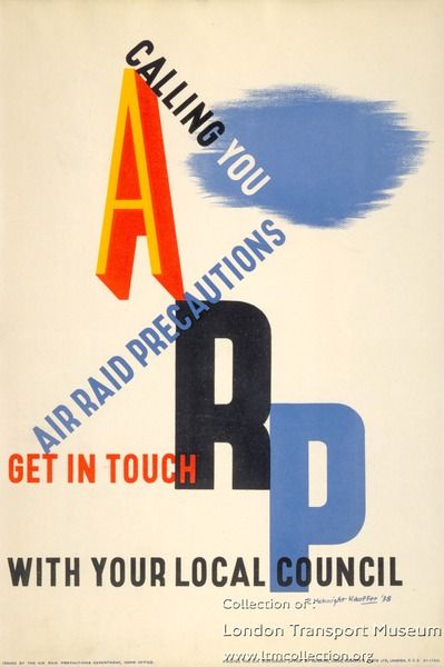 Air raid precautions, by Edward McKnight Kauffer, 1938  Published by London Transport, 1938 Printed by Howard, Jones, Roberts and Leete, 1938 Format: Panel poster Dimensions: Width: 254mm, Height: 381mm Reference number: 1983/4/10232