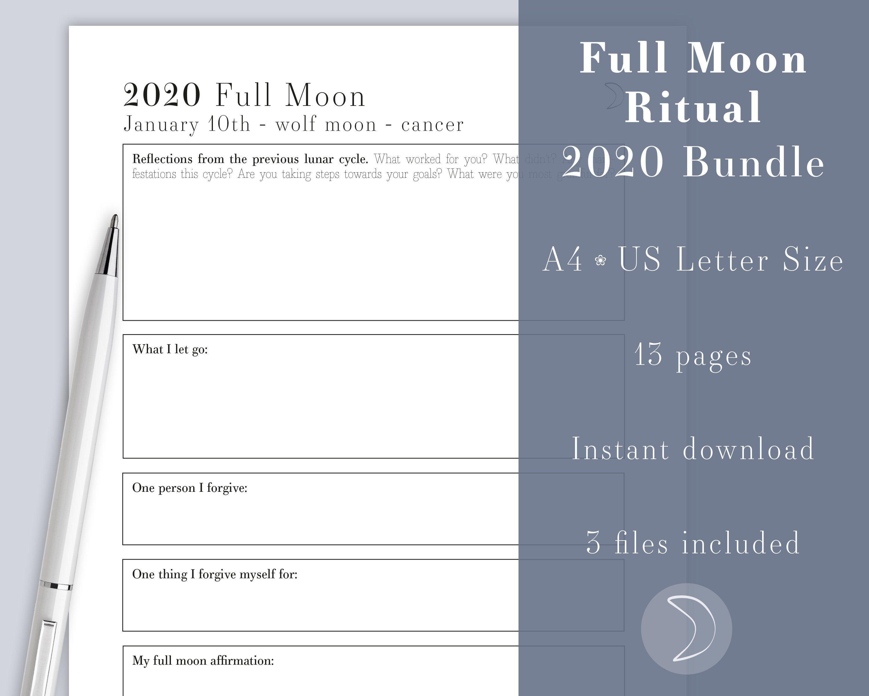 Printable Full Moon Ritual Bundle A4 Amp Us Letter Size