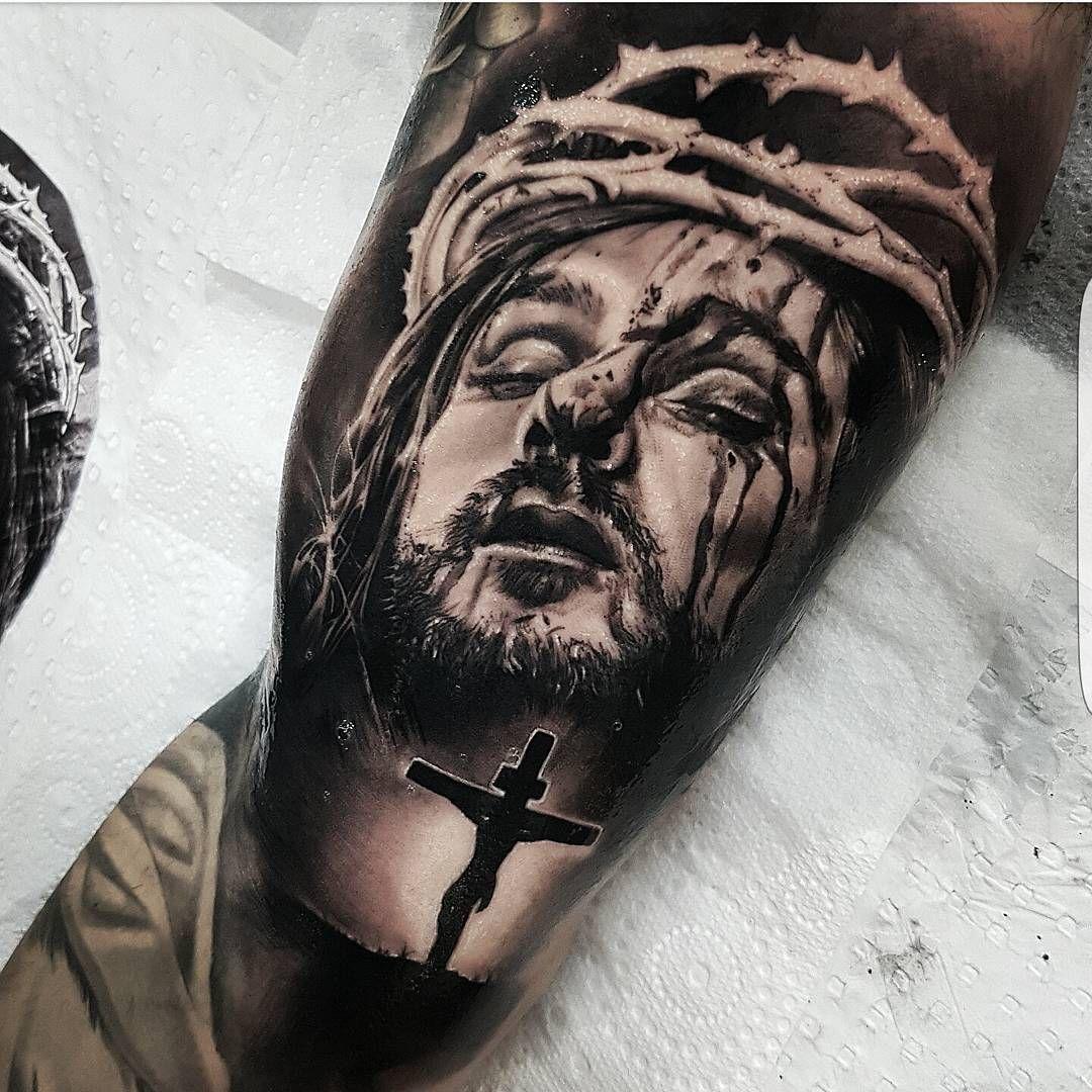 Jesus Tattoo On Bicep