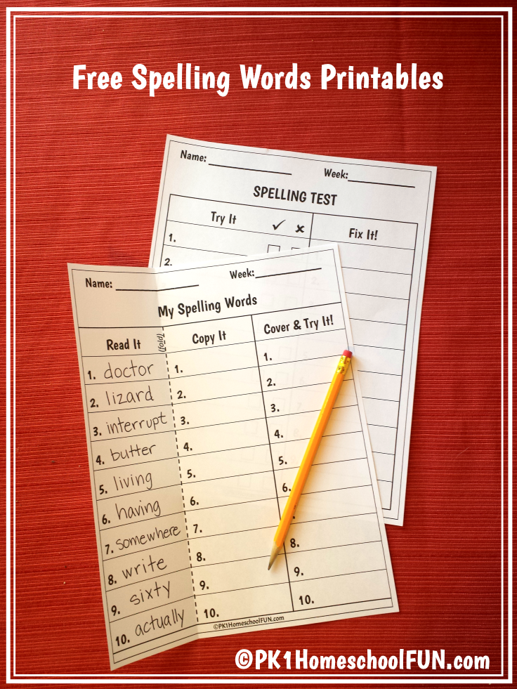 Free Spelling List And Spelling Test Printables | Schule