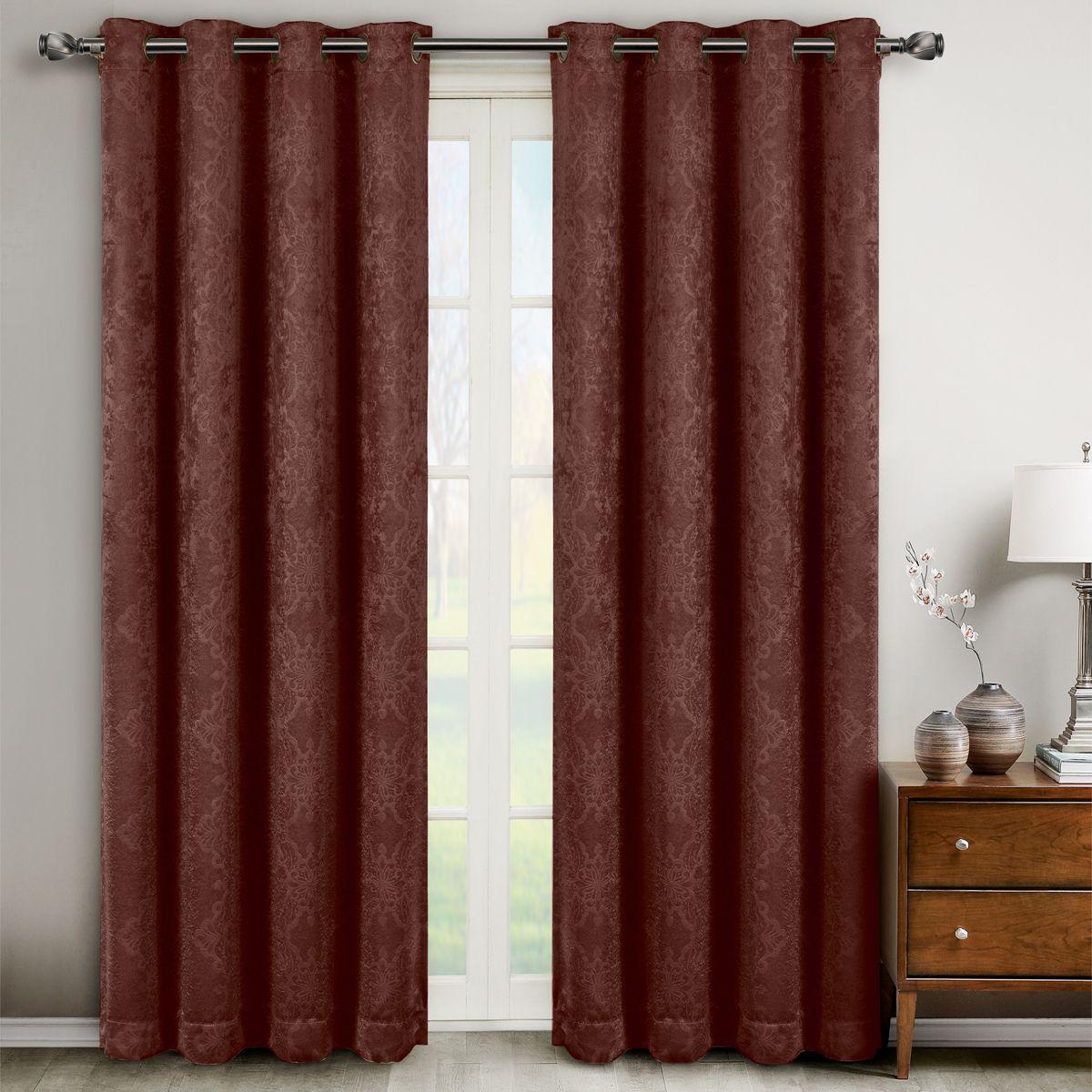 Bella Burgundy Grommet Blackout Weave Embossed Window Curtain Panels Pair Set Of 2 Inches Each By Royal Hotel