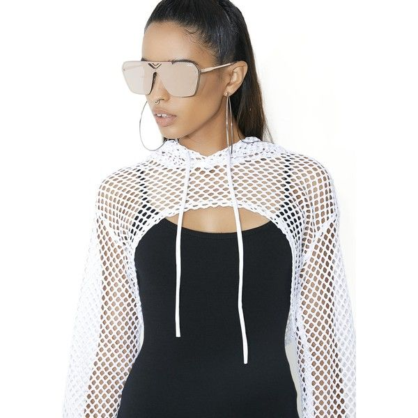 White Sheer Fishnet Cropped Hoodie ( 25) ❤ liked on Polyvore featuring  tops d57472d89