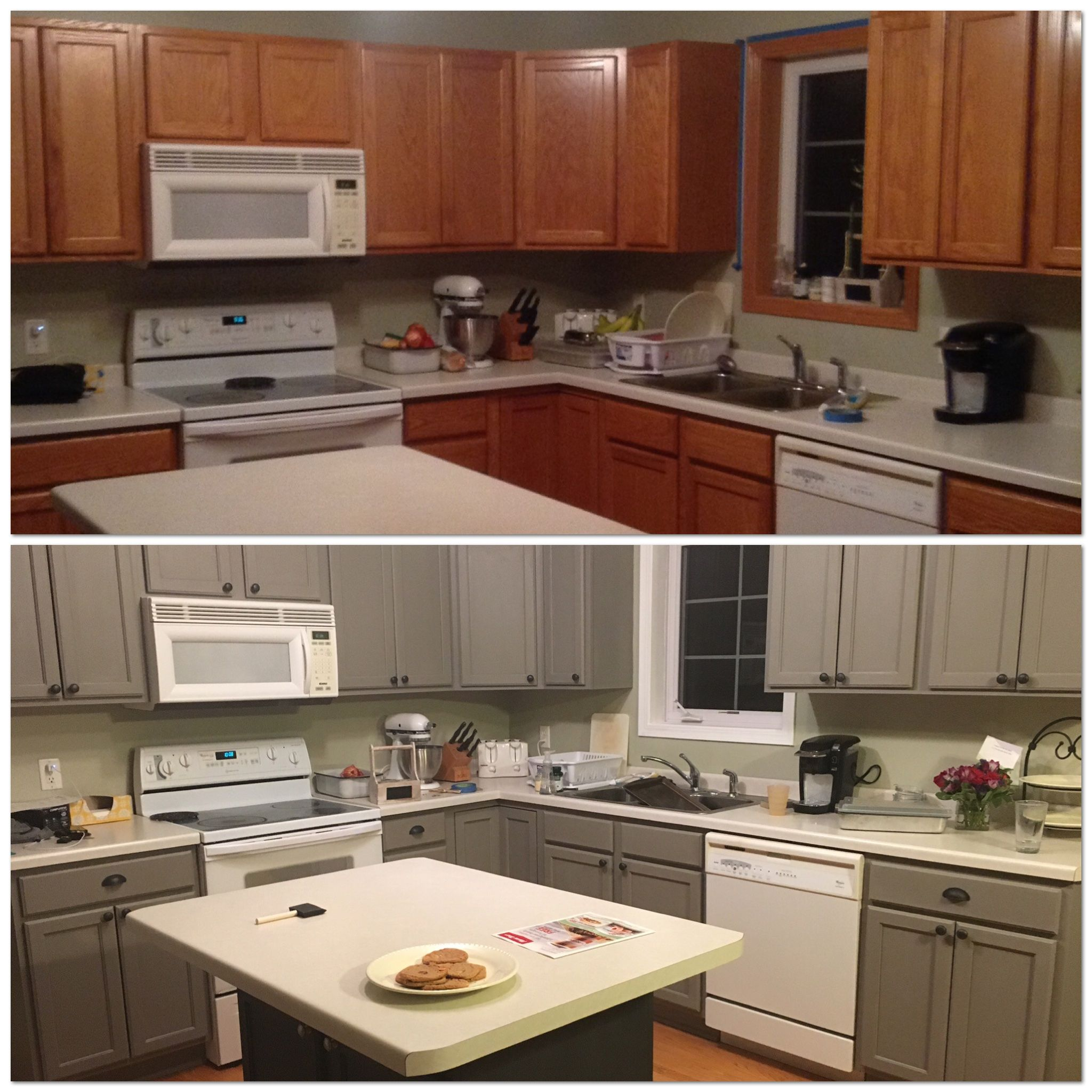Before And After Painting My Kitchen Cupboards With Annie Kitchen Cabinets Before And After Painting Kitchen Cabinets Kitchen Cabinets Painted Before And After