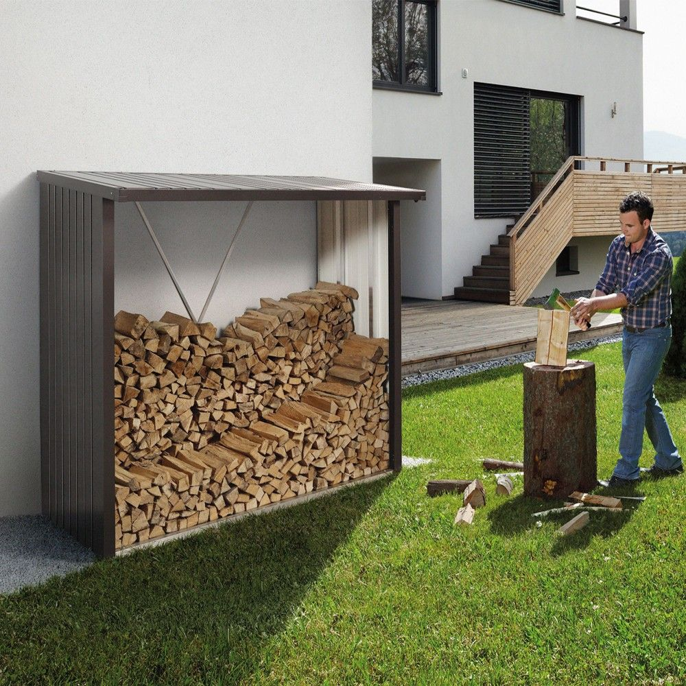 Contemporary Steel Wood Store | Biohort Woodstock 230 Log Store