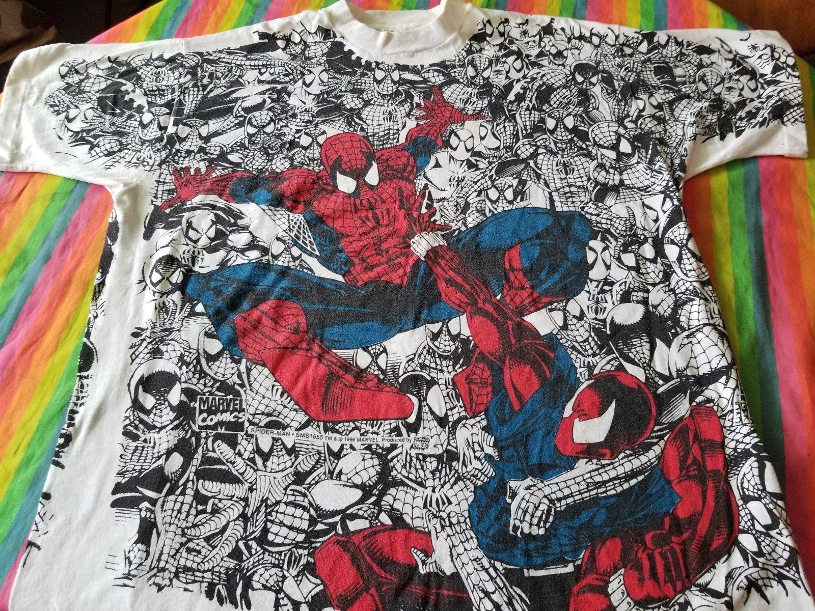 Spiderman Vintage All Over Print Tee Shirt Xl Clean N Rare 95 Tee Shirt Print Marvel Shirt Spiderman Shirt