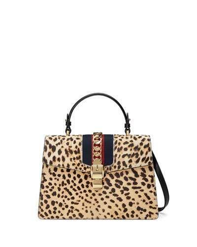 V3JRM Gucci Sylvie Medium Calf-Hair Top-Handle Bag, Neutral