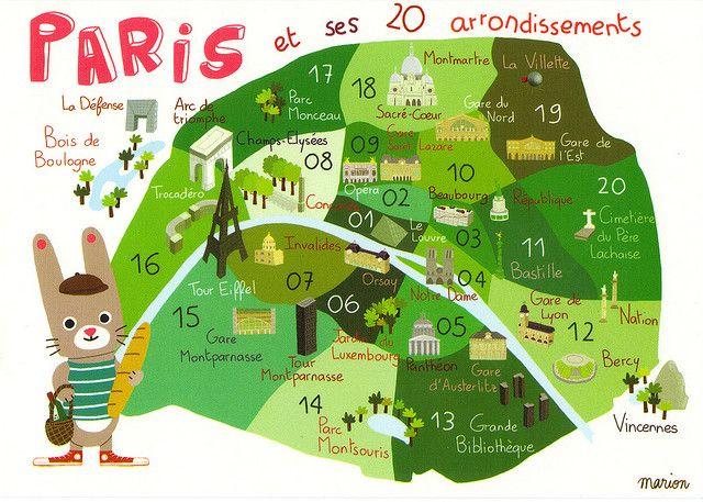 France Paris Cartoon Map Postcard Paris Map France And - Paris map neighborhoods