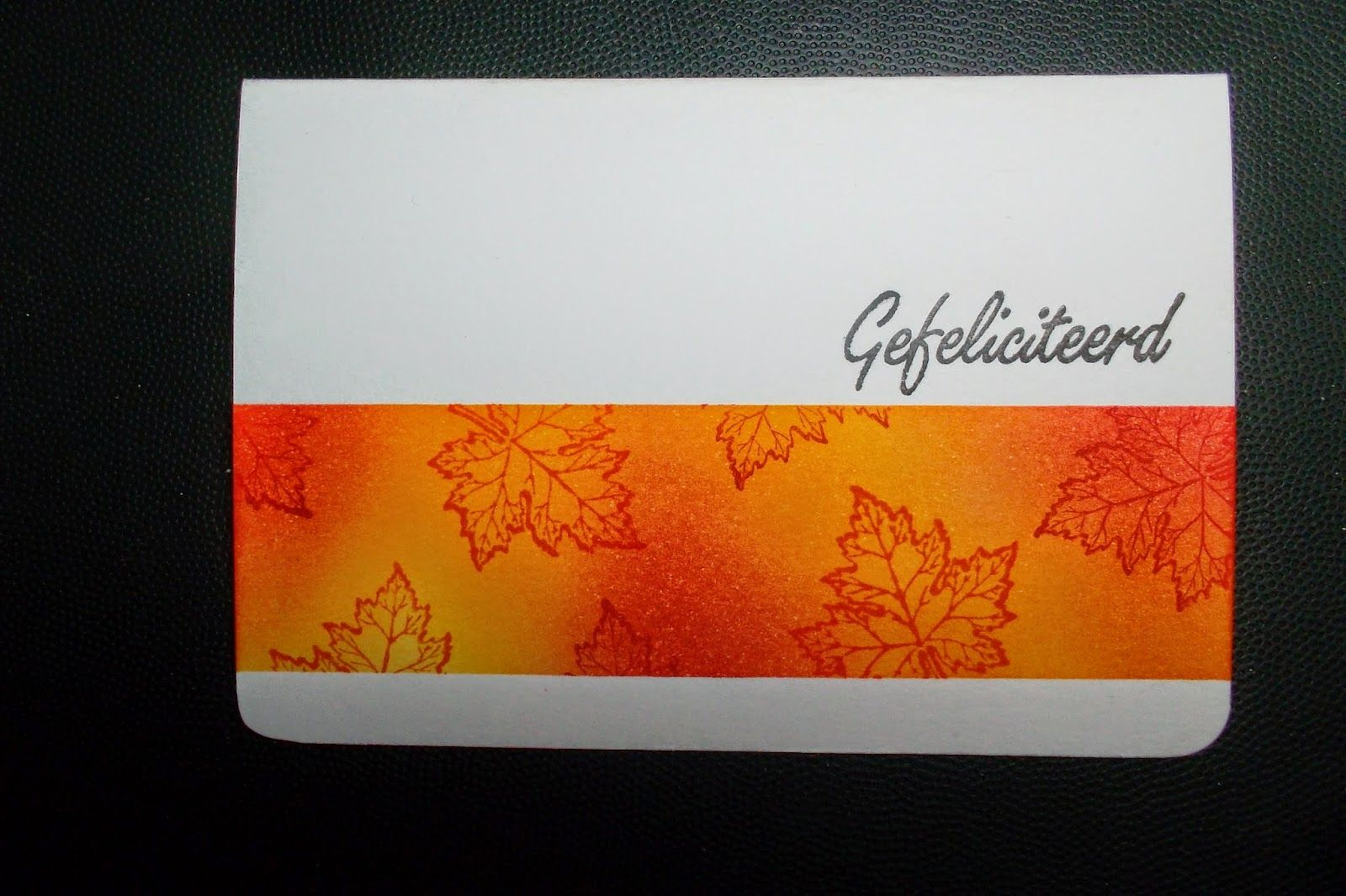 Sponged background leaves stamped in same colours card ideas