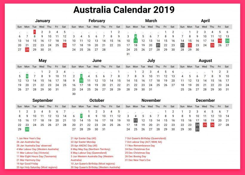 Australia 2019 Printable Calendar With Holidays Festivals