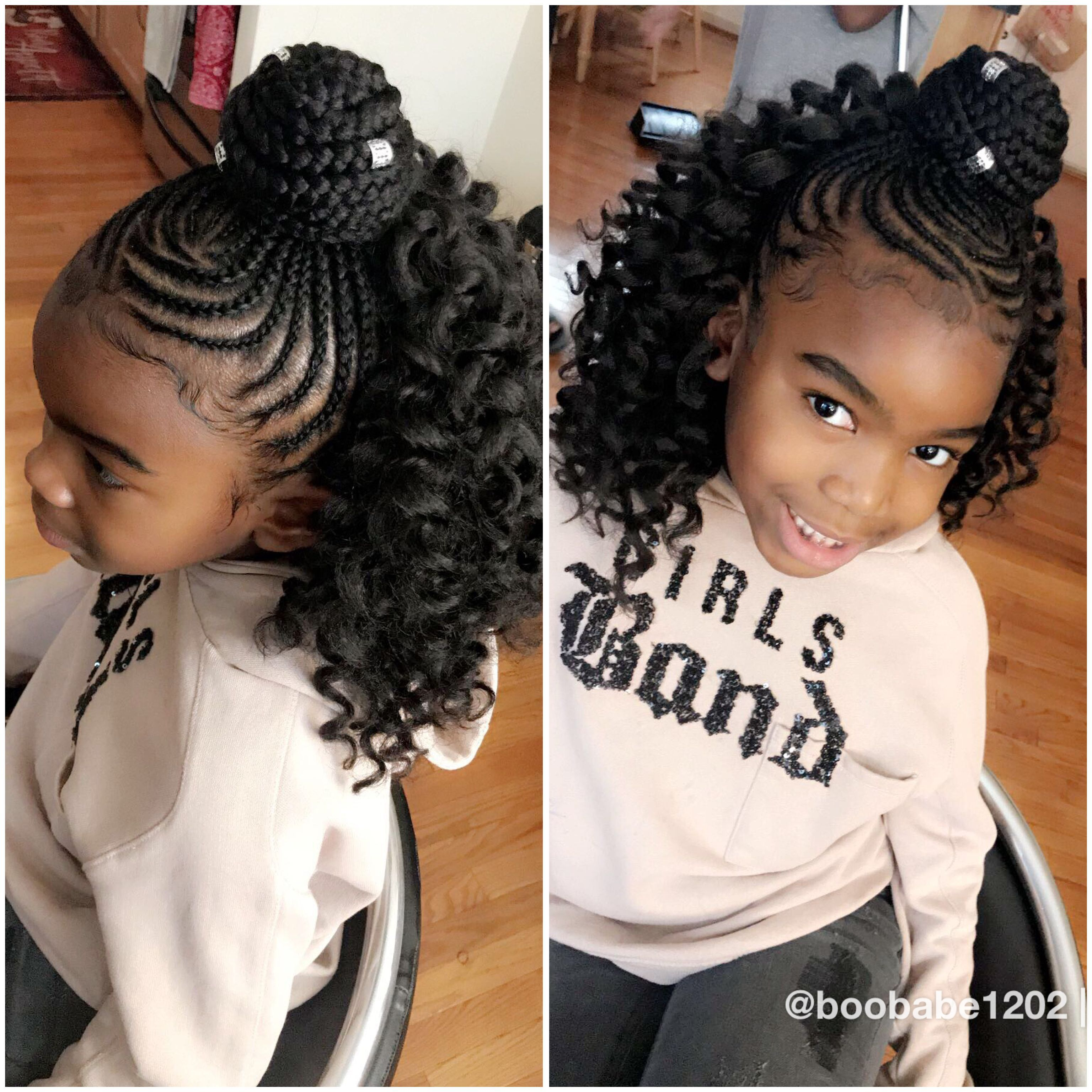 Black Hairstyles For Kids Middle Part Hairstyles Hair Kids