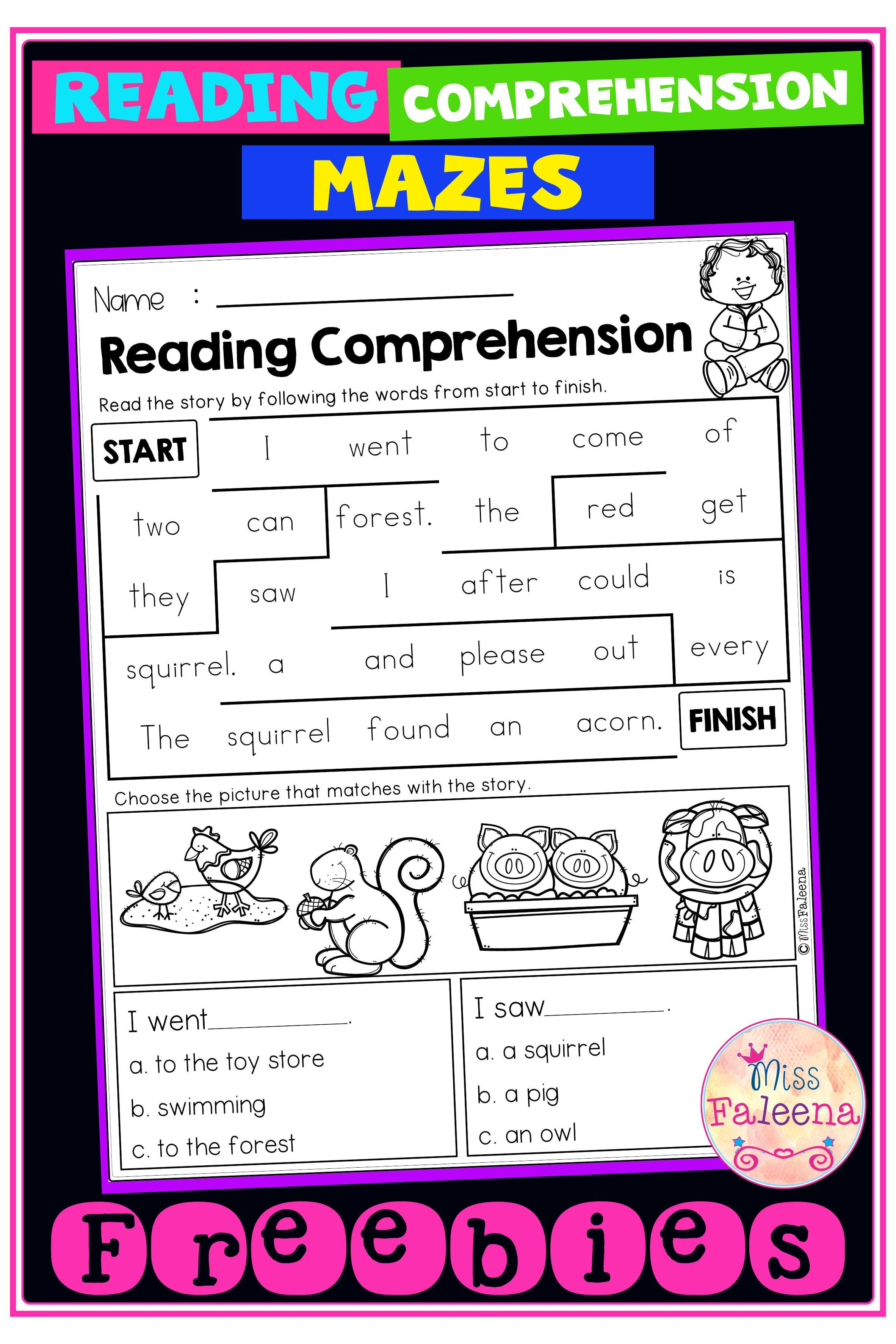 Free Reading Comprehension Mazes Reading Comprehension Reading Comprehension Worksheets Teaching First Grade [ 3544 x 2364 Pixel ]