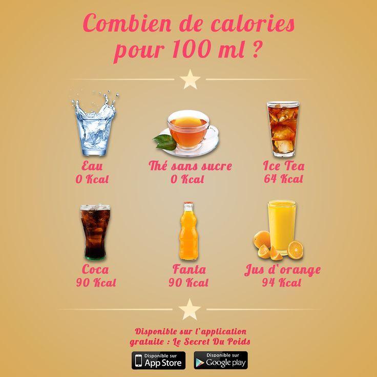 Comparaison calories des boissons fraîches par Le Secret du Poids #boissonsfraîches