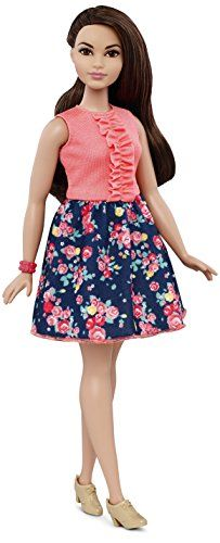 Barbie Fashionistas doll includes a beautiful dress that has a pink ruffle top and navy skirt with floral print. Tan heeled shoes and a pink bracelet complete her fabulous look. Her long, wavy brunette hair with a side pullback is right on trend.  toys4mykids.com