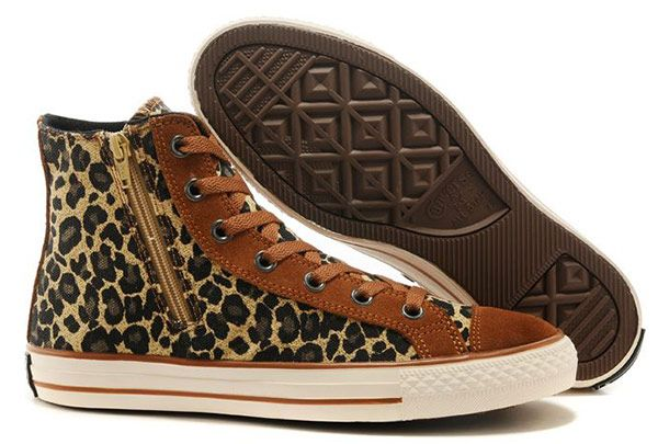 f676d8a707a7 Unisex Converse Tan Suede Leopard Side Zip High Tops Chuck Taylor All Star  Sneakers  converse  shoes
