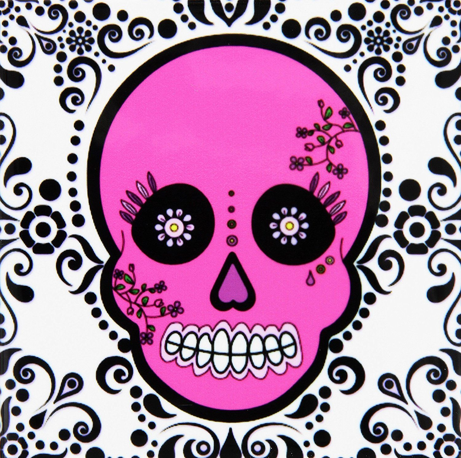 3drose cst288714 day of the dead skull dia de los muertos sugar day of the dead skull dia de los muertos sugar skull pink white black scroll design ceramic tile coasters set of 8 amazing product just a click away dailygadgetfo Images
