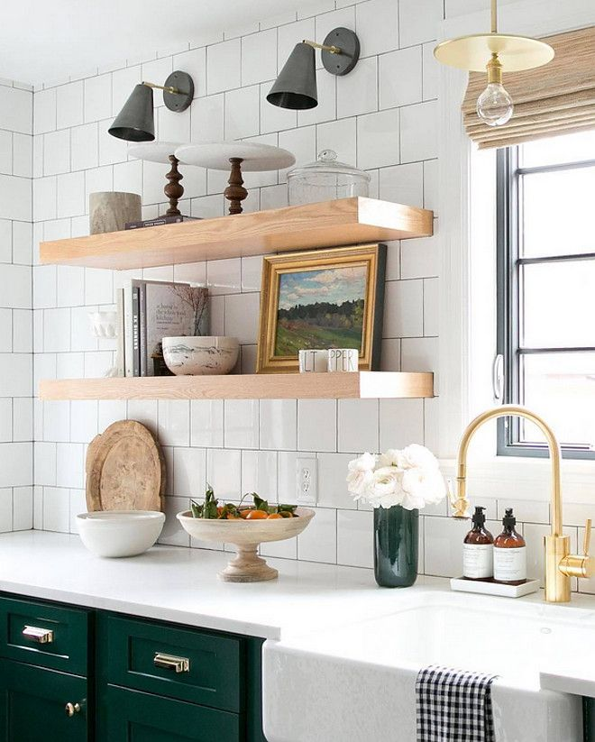 Modern Farmhouse Kitchen With Chunky Floating Shelves And White