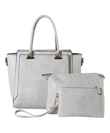 d2c7bbdecdad Gray Diophy Satchel Three-in-One Set  zulily  zulilyfinds Best Handbags