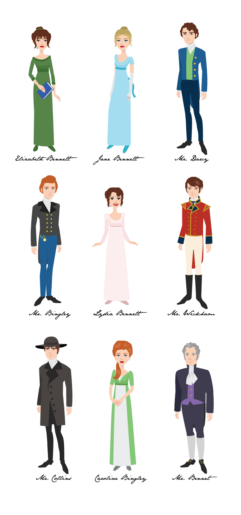 austen characters clip art from com shop girlfanart pride  9 pride prejudice characters by girlfanart on