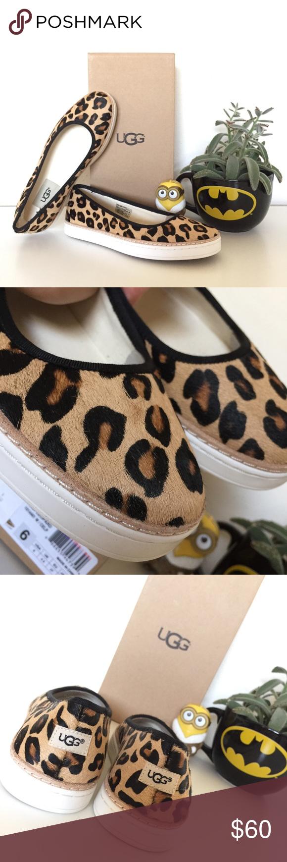f3789eec7b04 NIB Ugg Kammi Calf Hair Leopard Fur Suede Flat 6 Brand new in box. Women
