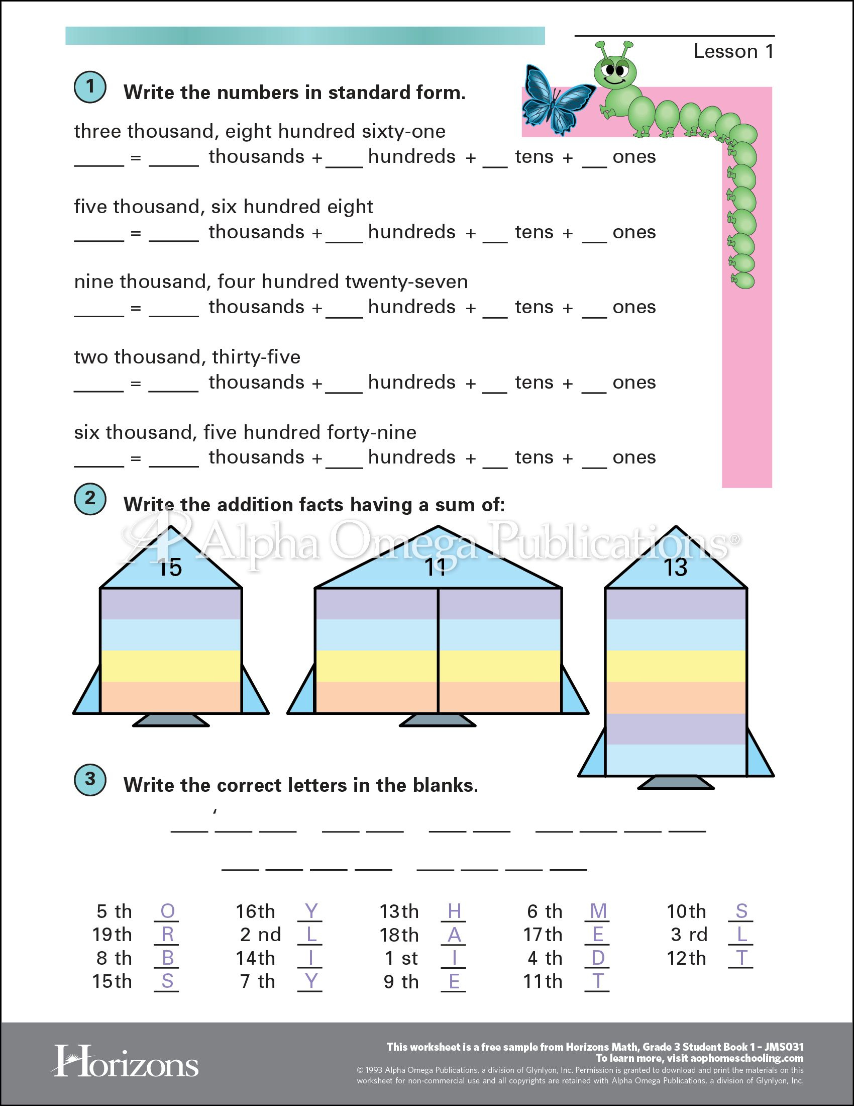 Printables Homeschool Curriculum Free Worksheets aop horizons free printable worksheet sample page download for homeschooling from alpha omega publications